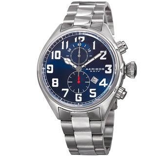 Akribos XXIV Men's Quartz Chronograph Stainless Steel Blue Bracelet Watch