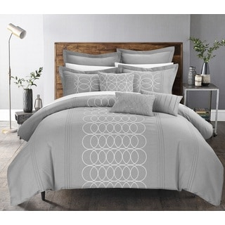 Chic Home Tussard Grey Oversized 8-piece Comforter Set