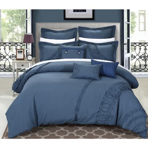 Chic Home Dearly 8-piece Linen Oversized and Overfilled Blue Comforter Set