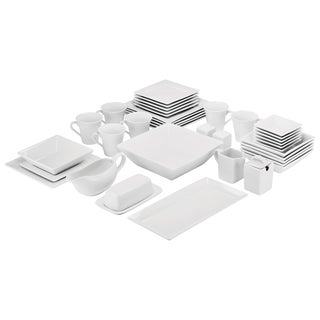 10 Strawberry Street Simply Square Porcelain Dining Set (40 Pieces)