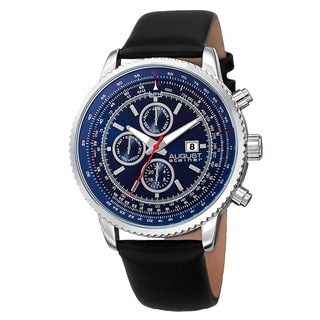 August Steiner Men's Swiss Quartz Multifunction Tachymeter Leather Blue Strap Watch