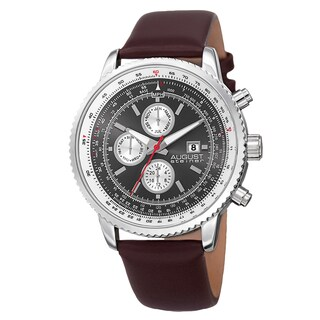 August Steiner Men's Swiss Quartz Multifunction Tachymeter Leather Silver-Tone Strap Watch