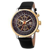 August Steiner Men's Swiss Quartz Multifunction Tachymeter Leather Gold-Tone Strap Watch