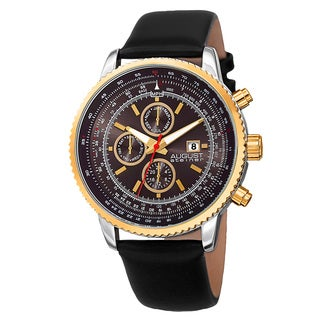 August Steiner Men's Swiss Quartz Multifunction Tachymeter Leather Gold-Tone Strap Watch