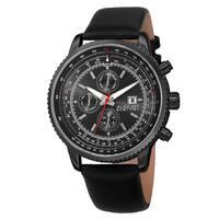 August Steiner Men's Swiss Quartz Multifunction Tachymeter Leather Black Strap Watch