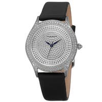 Akribos XXIV Women's Quartz Swarovski Crystals Satin Silver-Tone Strap Watch - black