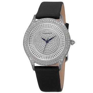 Akribos XXIV Women's Quartz Swarovski Elements Crystals Satin Silver-Tone Strap Watch - Black