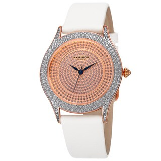Akribos XXIV Women's Quartz Swarovski Crystals Satin White Strap Watch with FREE Bangle