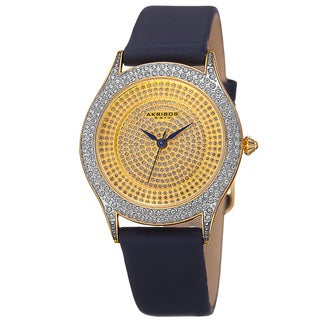 Akribos XXIV Women's Quartz Swarovski Crystals Satin Blue Strap Watch