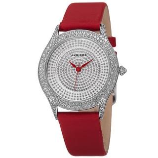 Akribos XXIV Women's Quartz Swarovski Crystals Satin Red Strap Watch with FREE GIFT
