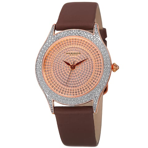 Akribos XXIV Women's Quartz Swarovski Crystals Satin Brown Strap Watch