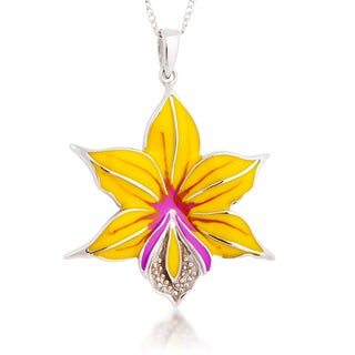 Sterling Silver Yellow and Purple Enamel Flower Pendant