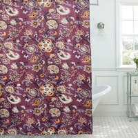 Floral Paisley Print Diamond Texture 13-piece Shower Curtain and Roller Hooks Set