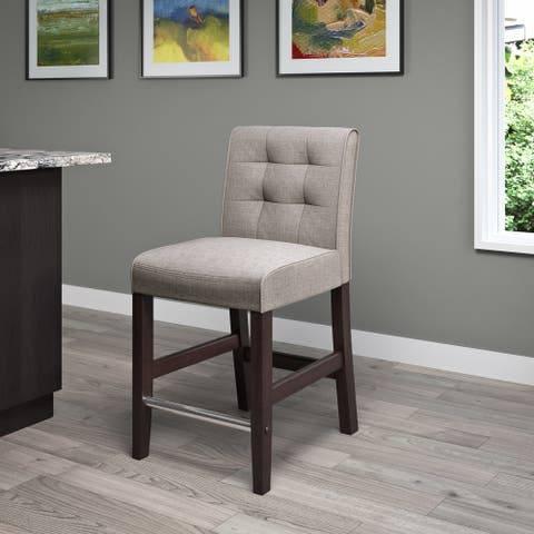 Copper Grove Krk Counter-height Barstool with Grey Tweed Fabric