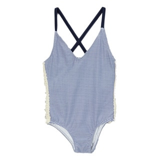 Dippin Daisy's Girl's Blue Sailor Crochet Cross-back One Piece Swimsuit