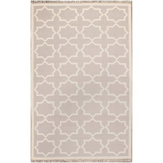 ABC Accents Moroccan Grey Geometric Wool Rug (5' x 8')