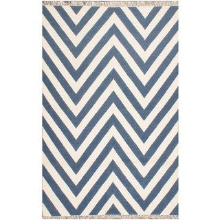 ABC Accents Moroccan Blue Chevron Wool Rug (5' x 8')