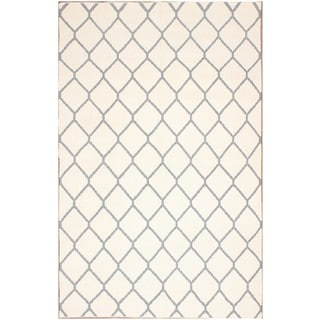 ABC Accents Moroccan Geometric Tan and Ivory Wool Rug (5' x 8')