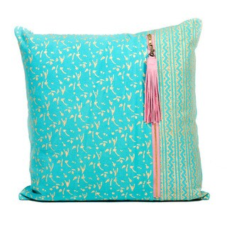 Metallic Green Block Print Pillow (India)