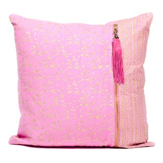 Handmade Metallic Pink Block Print Pillows (India)