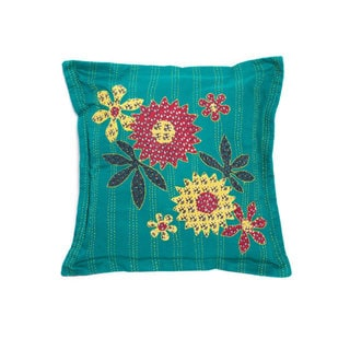 Handmade Kantha Teal Pillow (India)