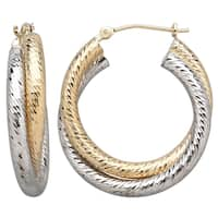 14k Yellow and White Gold Interlocking Faceted Hoop Earrings