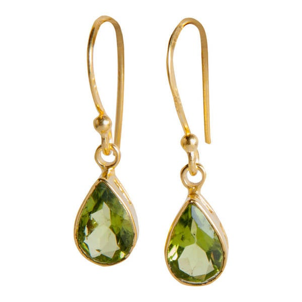 Handmade Gold Overlay Sterling Silver Peridot Dangle Earrings India