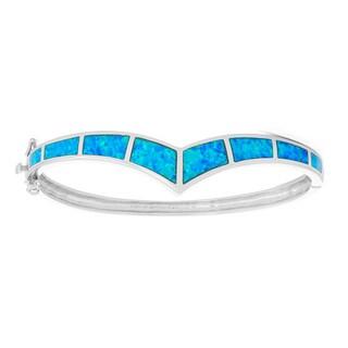 La Preciosa Sterling Silver Blue Opal Curved Bangle