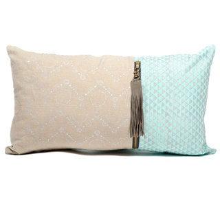 Handmade Long Metallic Mint Block Print Pillow (India)