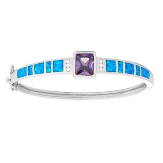 La Preciosa Sterling Silver Blue Opal & Amethyst Rectangle CZ Bangle