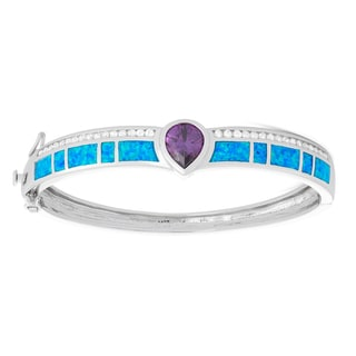 La Preciosa Sterling Silver Blue Opal & Amethyst Pear CZ Bangle