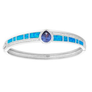 La Preciosa Sterling Silver Blue Opal & Tanzanite Pear CZ Bangle|https://ak1.ostkcdn.com/images/products/10813165/P17858287.jpg?impolicy=medium