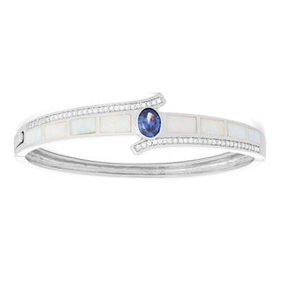 La Preciosa Sterling Silver White Opal & Tanzanite Oval CZ Bangle