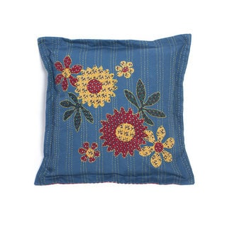 Handmade Kantha Blue Pillow (India)