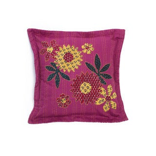 Handmade Kantha Fuchsia Pillow (India)