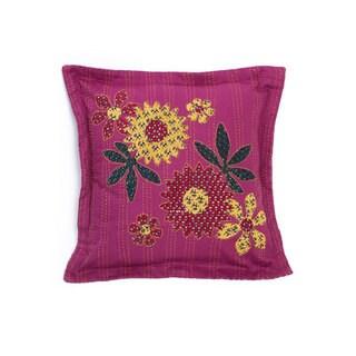 Handmade Kantha Fuchsia Pillow (India)