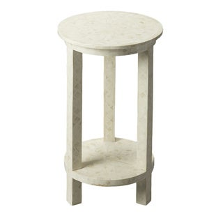 Butler White Round Bone Inlay Accent Table