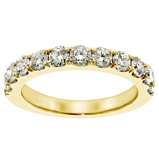 Yellow Gold 1ct TDW Round Diamond Split Prong Wedding Band