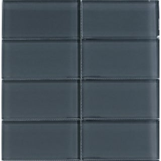 Modwalls Lush Storm Dark Grey 3 x 6-inch Glass Subway Tile