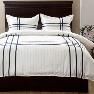 Albania White/Blue 3-piece Duvet Set