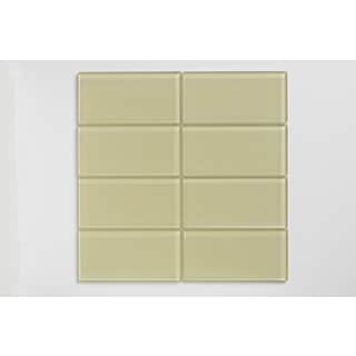 Almond Beige 3 x 6-inch Glass Subway Tile