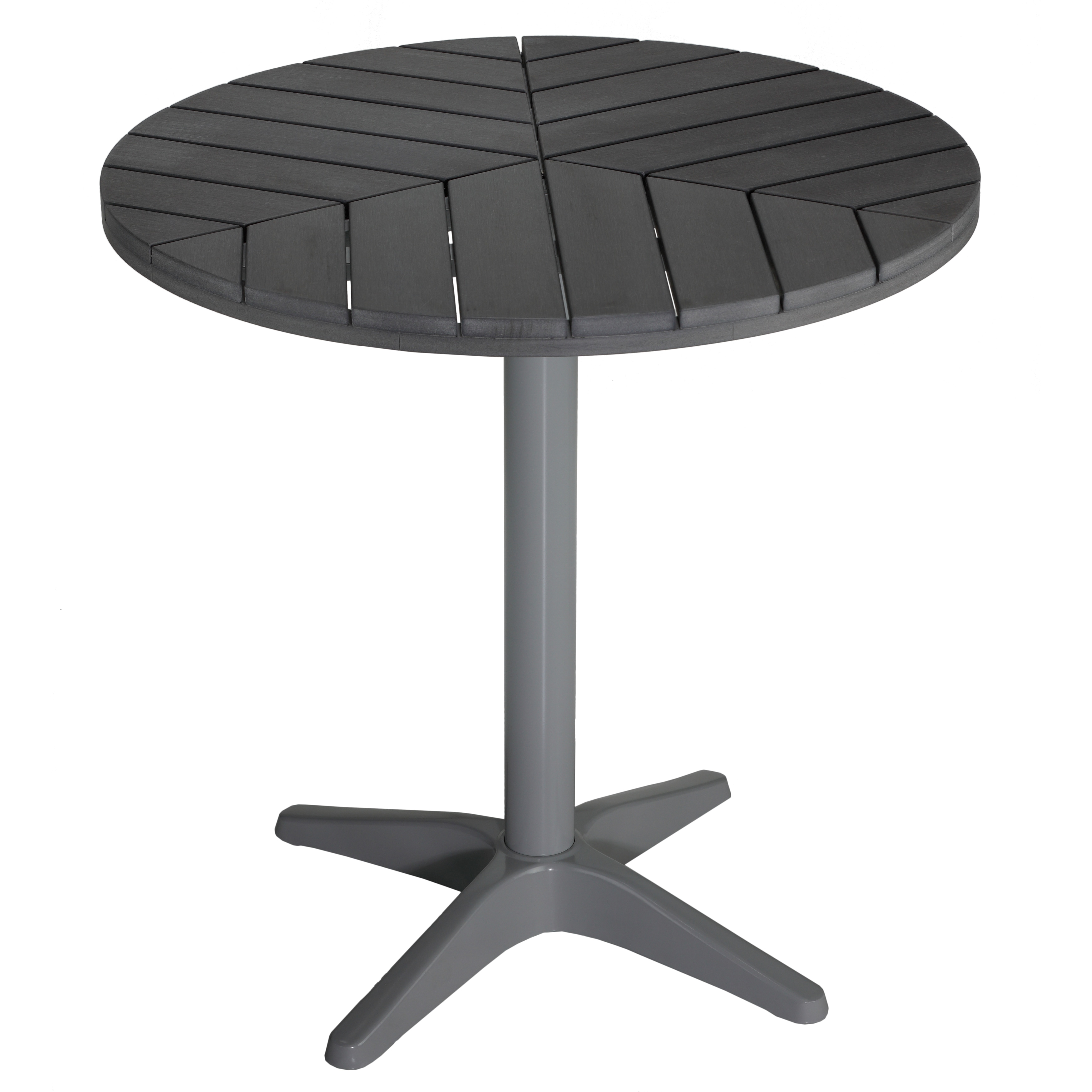 Cortesi Home Jaxon Round Aluminum Outdoor Bistro Table In Poly Wood Silver Slate Grey
