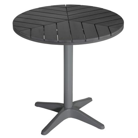 Havenside Home Apollo Silver/ Slate Grey Poly Wood Round Aluminum Outdoor Bistro Table