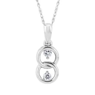 Boston Bay Diamonds 10k White Gold 1/2ct TDW 2-stone Diamond Double Loop Pendant