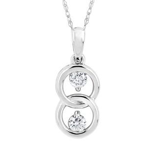 Boston Bay Diamonds 10k White Gold 1/5ct TDW Diamond Pendant Necklace (I, I1)