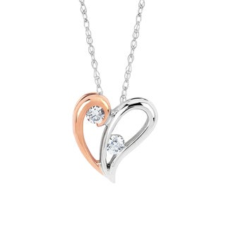 Boston Bay Diamonds 10k White/ Rose Gold 1/10ct TDW 2-stone Diamond Heart Pendant Necklace