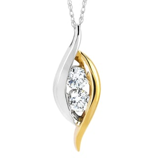 Boston Bay Diamonds 10k White/ Yellow Gold 1/2ct TDW 2-stone Diamond Pendant Necklace