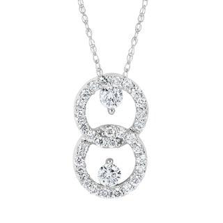 Boston Bay Diamonds 10k White Gold 1/2ct TDW 2-stone Diamond Double Loop Pendant Necklace