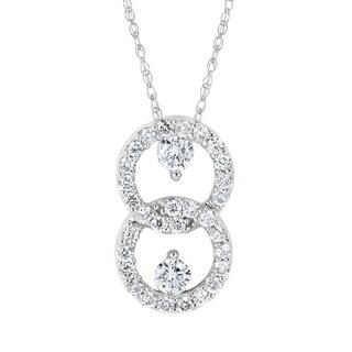 Boston Bay Diamonds 10k White Gold 1/2ct TDW Two Stone Diamond Double Loop Pendant Necklace