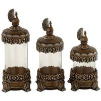 Peacock Handcraft Decorative Glass Canister Set - (Set of 3)